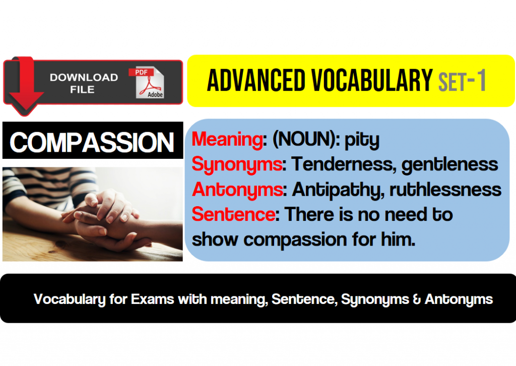Advanced vocabulary English words with meaning, synonyms and