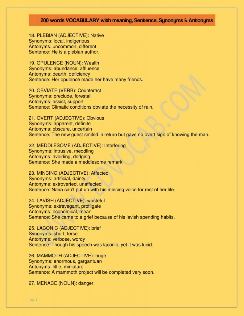 200 words VOCABULARY with meanings, Sentence