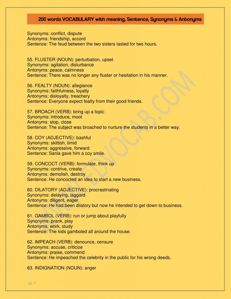 200 Words Vocabulary With Meanings Sentence