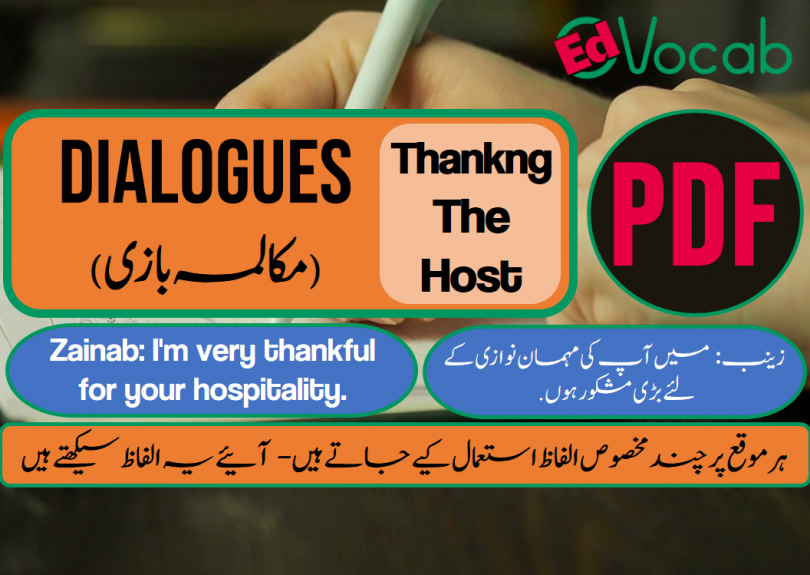 Thanking The Host Dialogues with PDF, Learn English with Dialogues