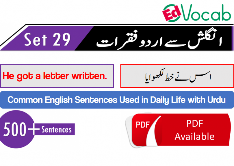 English to Urdu sentences Used in Daily Life, Set-29 with