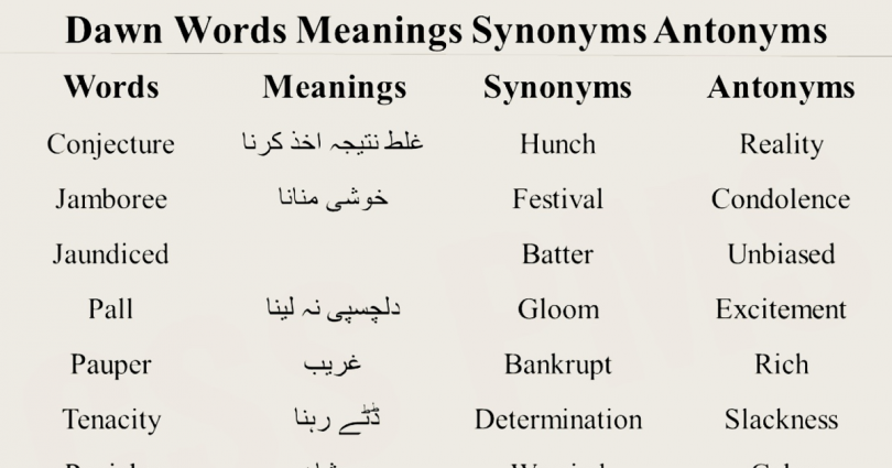 Vocabulary words with meaning English/Urdu and Usage/Sentence