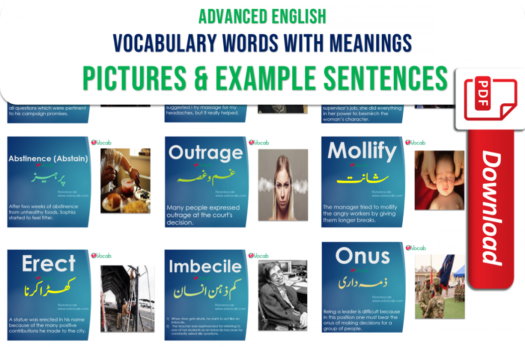 Hello everyone, here i am going to show you top20 Advanced English Vocabulary words with meanings, pictures and example sentences. These Advanced English Vocabulary words are very important to learn advanced vocabulary with meaning in Urdu and example sentences that would be entirely help you to build your vocabulary at a higher level. These advanced English Vocabulary words with meanings, pictures and example sentences can be used for academic and competitive exam preparation as well as your daily spoken English use. In the bottom of these advanced English Vocabulary words with meanings, pictures and example sentences, you can download in a soft form as pdf booklet.