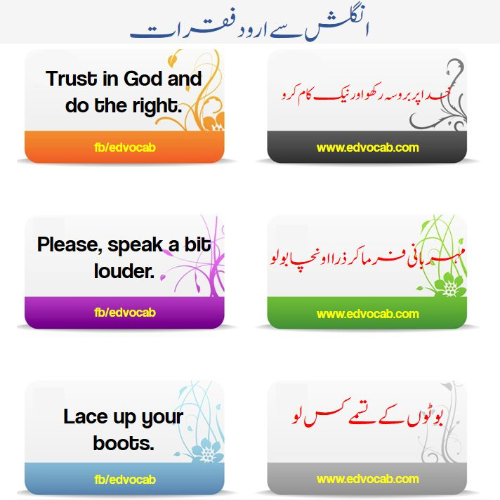Important English Sentences With Urdu | Flashcards and pdf