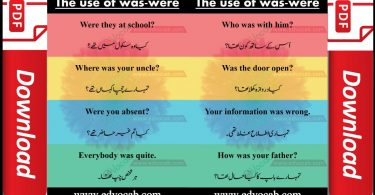Use of was were in sentences | Past Tense Was Were Examples | Flashcards and pdf