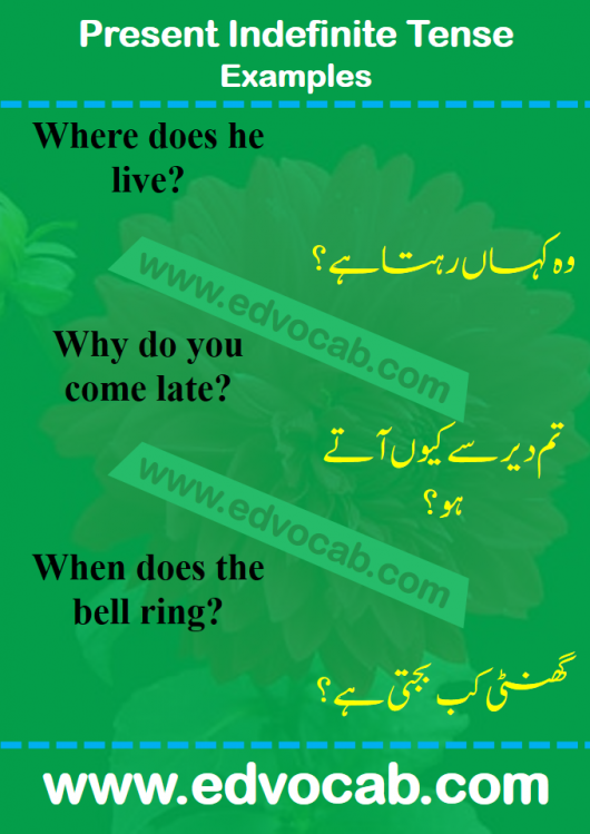 present indefinite tense examples in urdu