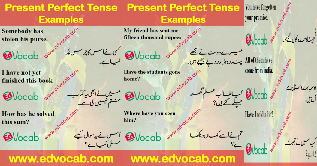 Present Perfect Tense Examples In Urdu pdf | Present Perfect Tense Rules