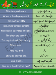 Shopping Sentences in English with Urdu Meaning