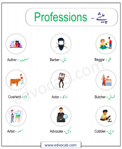 List of Professions Vocabulary with Urdu and English